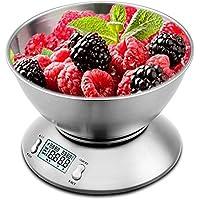 Uten Bilancia Cucina Acciaio Inox Digitale Elettronica Bilancia da Cucina Professionale Timer 5kg/ 11lb,Argento