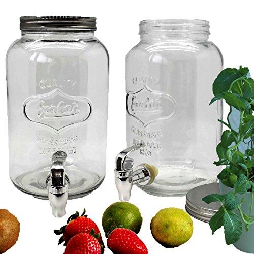 Bada Bing 2er Set Getränkespender 3l aus Glas mit Zapfhahn und Deckel TT