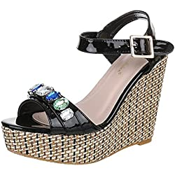 Damen Schuhe, EL15213, SANDALETTEN, KEIL PUMPS, Synthetik in hochwertiger Lacklederoptik , Schwarz, Gr 40