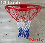 Netz für Basketballkorb, Basketball Korb NETZ Ersatznetz Ballnetz 5mm, 12 Loch, 3 Farbig extra dick (LHS)