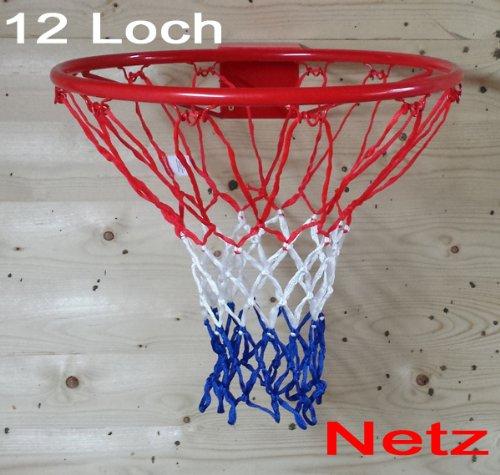 Preisvergleich Produktbild Netz für Basketballkorb, Basketball Korb NETZ Ersatznetz Ballnetz 5mm, 12 Loch, 3 Farbig extra dick (LHS)