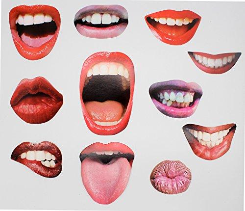 Ranvi 20 Lippen Foto Stand Requisiten auf Sticks DIY lustige Mund Realistische Party Graduierung Requisiten (20 Stück - Mund)