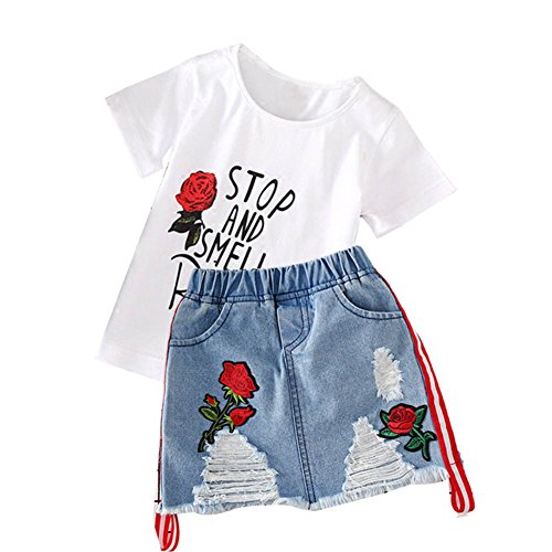 Baby Girl Shirt and Skirt Clothes Set,1-6 Years Old Rose Embroidery Outfit White T-Shirt and Denim Mini Skirt