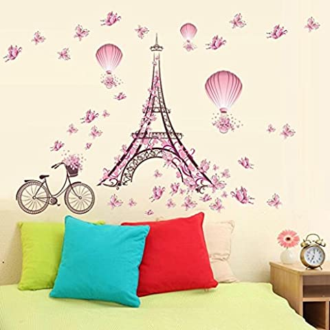 Kingko® New Pink Tower Butterfly Flower Fairy Decorations Wall Sticker Home Shop Decals Removable Decor