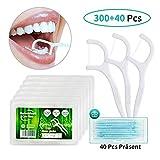 Dental Floss, 300+40 Stück Zahnseide Sticks Zahnstocher Stick, Zahn Draht Zahnpflege Interdental Flossers mit...