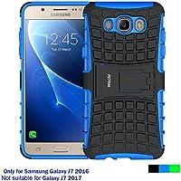 Funda Samsung Galaxy J7 2016, Cáscara Galaxy J7 2016 , Fetrim soporte Proteccion Cáscara Cases delgada de golpes Doble Capa de Tough silicona TPU + plastico Anti Arañazos de Protectora para Samsung Galaxy J7 2016 - Azul