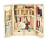 LEOMARK Deluxe Holz Werkzeugkoffer Werkzeugkasten Schraubendreher Enthält Mehr Holz Werkyeugkasten Kompakter Werkzeugkoffer Holzschrank Werkzeug Heimwerker Laubsägeschrank 30 Teilen Für...
