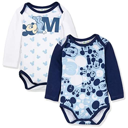 Disney-Mickey-Mouse-Baby-Boys-Girls-Bodysuits-Babygrows-Rompers-2-Pack-100-Cotton-0-24-Months