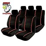 Akhan SB302 - Qualität Auto Sitzbezug Sitzbezüge Schonbezüge Schonbezug mit Seitenairbag Schwarz/Rot