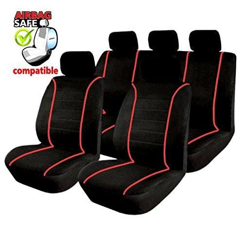 Preisvergleich Produktbild UNSB302 - Sitzbezug Set Schwarz / Rot Sitzschoner Sitzkissen mit Seiten Airbag geeignet für SUZUKI Grand Vitra Swift Sport