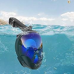 Masque de plongée intégral avec tuba pour adultes et enfants - Portable et détachable - Protection contre les UV - Masque de plongée avec tuba réglable - Anti-buée et anti-fuite, Voir image, Taille L