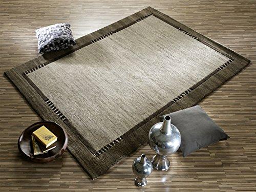 PROMETHEUS BORDER handgeknüpfter Nepal Teppich Wolle in h.grau-natur, Größe: 170x240 cm