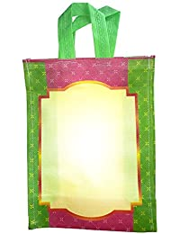 AVR's Reusable Wedding Bags Green With Off-white Coloured Pack Of 10