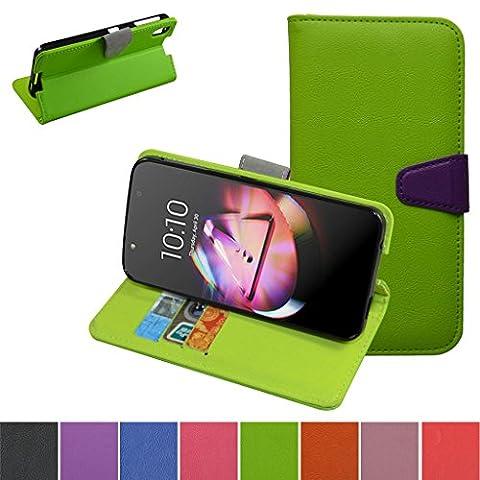 Alcatel Idol 4 4+ Hülle,Mama Mouth Brieftasche Schutzhülle Case Hülle mit Kartenfächer und Standfunktion für Alcatel One Touch Idol 4 4+ 6055 5.2 Zoll 2016 Smartphone,Grün