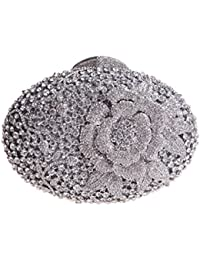 Bonjanvye Glitter Flower Clutch Purses Rhinestones and Handbags for Girls