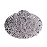 Bonjanvye Glitter Flower Clutch Purses Rhinestones and Handbags for Girls Silver