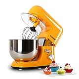 Klarstein Bella Orangina - Robot de Cocina , Batidora , Amasadora , 1200 W , 5,2 litros , 1,6 PS , Batido planetario , 6 Niveles de Velocidad , Recipiente de Acero Inoxidable , Naranja
