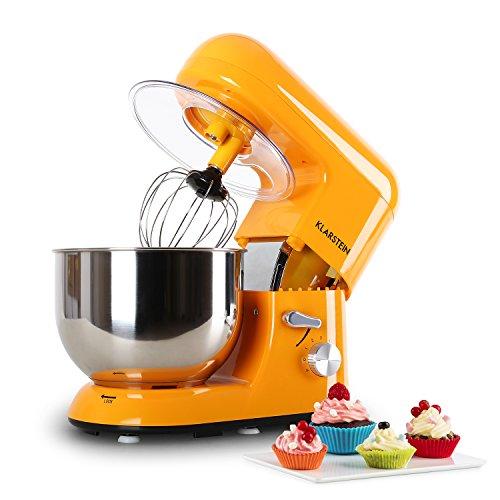 Klarstein Bella Orangina - Robot de Cocina, Batidora, Amasadora, 1200 W, 5,2 litros, 1,6 PS, Batido...