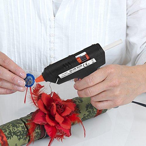 Nayka Hot Glue Gun and Glue Sticks Bundle (55-Pack) – 15W Glue Gun Heats Up Quickly – Ultra Clear Hot Melt Craft Glue – Hobbyists, Crafters, Crafting, Fabrics, Ceramics & More – Glue Sticks (7.4mm x 100mm)