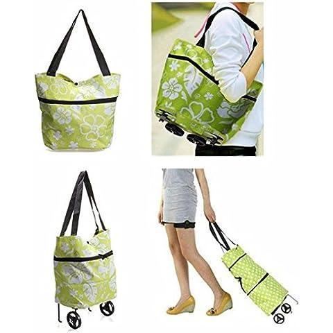 CAMTOA - Bolsa plegable convertible en carrito de la compra con ruedas, diseño floral, verde y