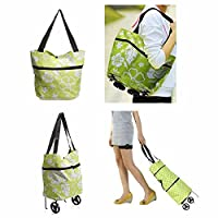CAMTOA Folding Grocery Shopping Bag, Foldable Portable Tote, Super Light Hand Bag, Purse Luggage with Wheel, Trolley Cart (Flower or Bubble Pattern) Green & White