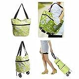 CAMTOA pieghevole Grocery Shopping Bag, Tote pieghevole portatile, Luce sacchetto di mano eccellente, borsa bagagli con la rotella, Trolley Carrello (Fiore modello) verde