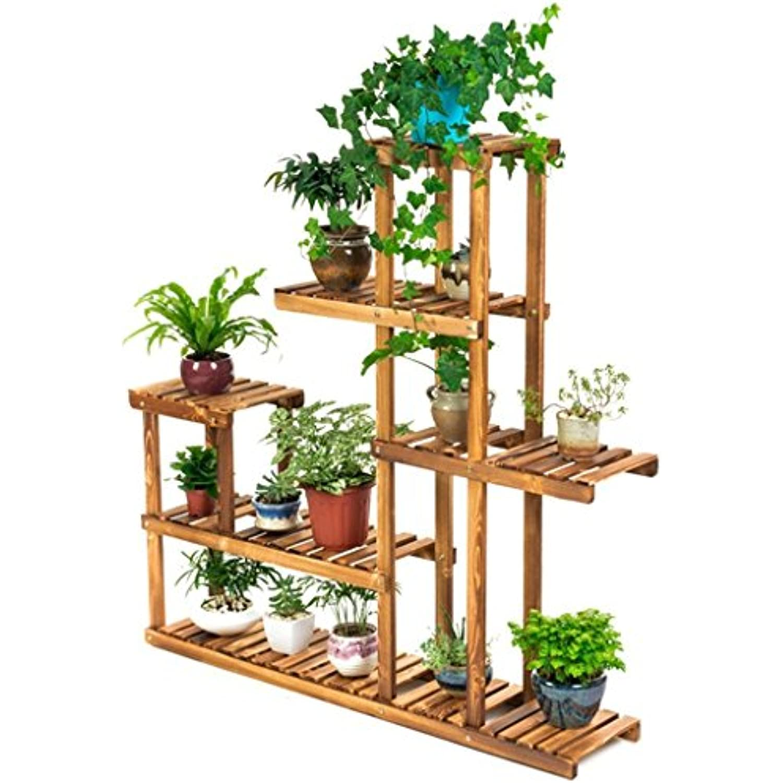 LIAN de Support de fleur de LIAN bois à 5 niveaux, présentoir de plantes de  jardin Étagères de support de pots de fleurs   étagère de rangeHommes t  Étagère ... e95dd10be81
