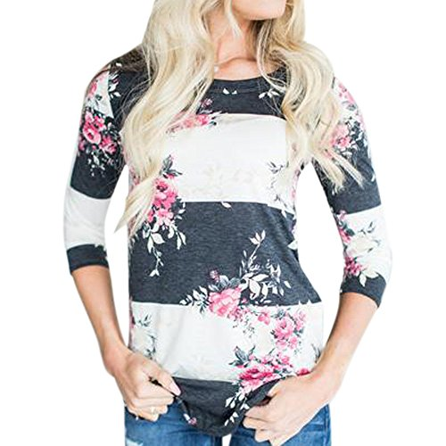 Langarm Bluse Damen Frauen Herbst Casual Print Floral Dreiviertel Sleeve Top T-Shirt Bluse Casual Bluse MYMYG Oberteile Hemd Bedrucktes Langarmshirt (Weiß,EU:36/CN-M)