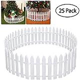 Amosfun White Plastic Picket Fence Miniature Home Garden Christmas Xmas Tree Wedding Party Decoration Christmas Gift (25 Pieces)
