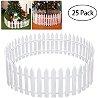 Tinksky piquete valla de plástico para árbol de Navidad boda fiesta decoración casa en miniatura jardín valla de Navidad árbol de Navidad Surround (25piezas)