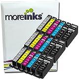 18 Moreinks Cartouches d'encre Compatibles pour Imprimante Canon Pixma MG6250 - Cyan / Magenta / Jaune / Noir / Grande Noir / Gris- Avec Puce