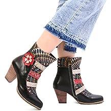 Botas Mujer Cuero, gracosy Zapatos De Otoño e Invierno para Mujeres Botas Tacón Alto Patrón