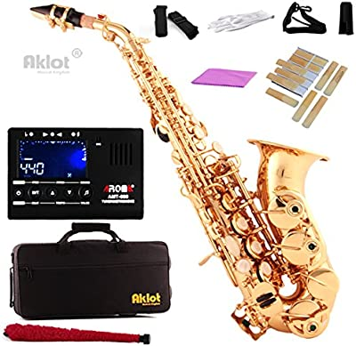 aklot BB para saxofón soprano Sax Oro sintonizador de cuerpo de latón lacado con lengüetas