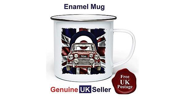 Mini Cooper Grunge Mug,11oz Enamel Mini Cooper Grunge Camping Mug