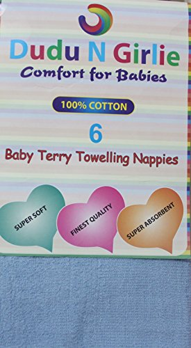 Dudu-N-Girlie-Baby-Terry-Towelling-100-Cotton-Nappies-Blue-Pack-of-6