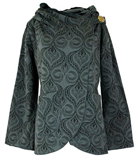 Guru-Shop Cape Boho Wickeljacke, Damen, Schwarz/grau, Baumwolle, Size:M (38), Boho Jacken, Westen Alternative Bekleidung