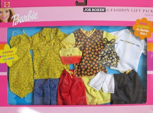 Barbie JOE BOXER 6 FASHIONS GIFT PACK w CLOTHES For BARBIE & KEN DOLLS (2001) by Barbie