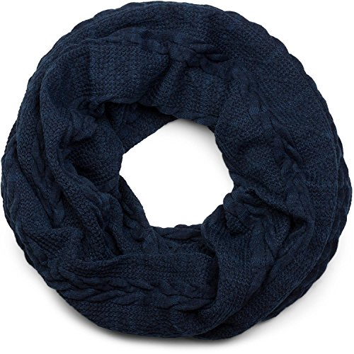 Stylebreaker sciarpa scaldacollo in maglia fine con motivo intrecciato, sciarpa invernale ad anello, sciarpa in maglia, unisex 01018151, colore:blu scuro