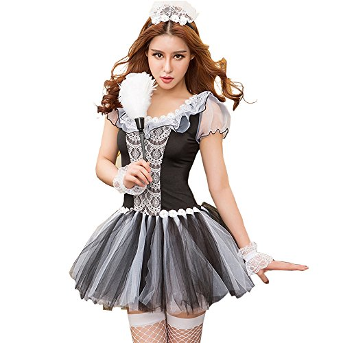 Just See You Damen Reizvolle Dessous Dessous Cosplay Maid Kleid Unterwäsche Set Uniformen Versuchung Mesh Mini Rock Kostüm