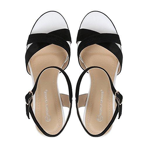 Ideal-Shoes Sandali compensate Tessie, effetto pelle scamosciata Nero (nero)