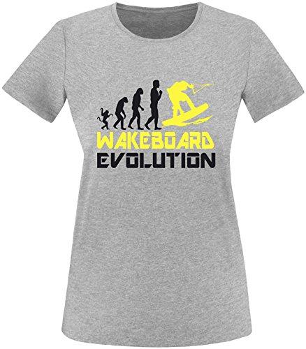 EZYshirt® Wakeboard Evolution Damen Rundhals T-Shirt Grau/Schwarz/Gelb