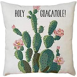Sencillo Vida Fundas De Cojin con Diseño de Cactus Impreso Almohada Caso Decoración del Hogar para Dormitorio Salón Oficina Cama Sofá o Coche (45 x 45 cm)