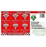 6 Stück GPS Aufkleber Innen-oder Außenklebend Fahrrad Motorrad Baumaschinen Auto LKW Alarm Warnung Anti Diebstahl Sticker Tracker gesichert (Innenklebend)