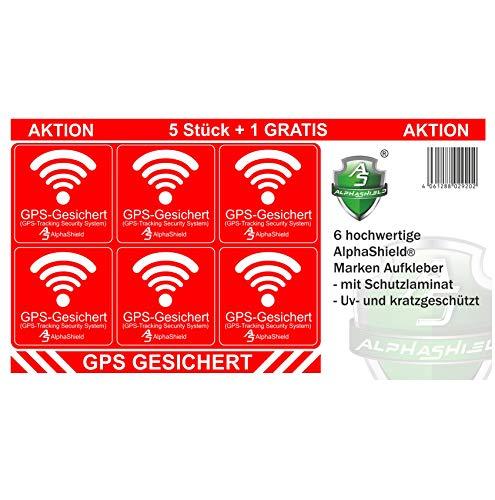 6 Stück GPS Aufkleber Innen-oder Außenklebend Fahrrad Motorrad Baumaschinen Auto LKW Alarm Warnung Anti Diebstahl Sticker Tracker gesichert R047 (Innenklebend)