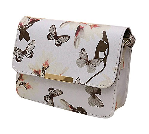 Minetom Damen Maedchen Floral Schmetterling Steppmuster Muster Mini PU Leder Handtasche Schultertaschen Messenger Purse UmhäNgetasche Weiß One size (Bookbag Wickeltasche Für Mädchen)