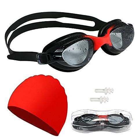Lunettes de natation Bonnet de bain avec bouchons d'oreille et Housse de protection, lunettes de natation sans fuite anti brouillard protection UV étanche Vision Claire Coupe confortable pour adultes, hommes, femmes