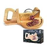 mikamax - Sausage Guillotine - Salsiccia alla ghigliottina - Taglia carne - Affettaverdure - Tagliapasta - Legno massello - 30 x 19 x 12 cm - Tagliare la carne