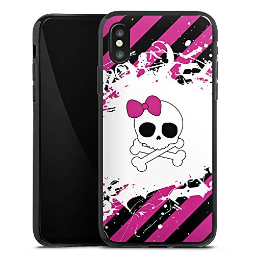 Apple iPhone X Silikon Hülle Case Schutzhülle Punk Rock Prinzessin Pink Totenkopf Silikon Case schwarz