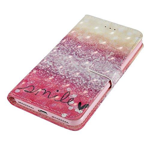 iPhone 8 Plus Hülle, STENES 3D Stilvoll Serie Kartenfach Standfunktion Magnet Ledertasche Wallet TPU Stoßfänger Schutzhülle für iPhone 7 Plus / iPhone 8 Plus - Traumfänger / Blau Lächeln / Fantasie