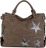 styleBREAKER Henkeltasche mit USA Stern Applikation, Shopper, Umhängetasche, Damen 02012116, Farbe:Braun